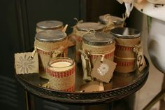 Hessian-wrapped jars - candles, gift jars, whatever....