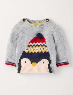 Pingouin Gris Chiné Pull à Logo Boden