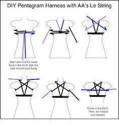 DIY Pentagram Harness with AA's Le String Stan wun a Iark's head knot m the Omni, wnh me rope around your body Cross in me lront. Then, (ie m back - iFunny :) Diy Goth Clothes, Japanese Rope, Rope Knots, Rope Braid, Rope Tying, Rope Art, Diy Fashion, Just In Case, Daddy