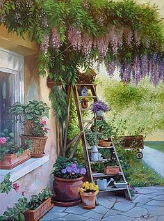 Marc Lamers, Flowers on stairs - ArtBoutique Landscape Art, Landscape Paintings, Art Mignon, Garden Illustration, Cottage Art, Anime Scenery Wallpaper, Garden Painting, Country Art, Beautiful Paintings