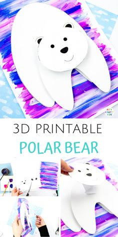 Printable Polar Bear Winter Craft for Kids! With its wobbly head and bouncy body, this Winter craft is fun, engaging and challenges creativity. Winter Activities For Kids, Winter Crafts For Kids, Winter Kids, Crafts For Kids To Make, Preschool Winter, Creative Activities For Kids, Craft Projects For Kids, Kids Diy, Spring Crafts