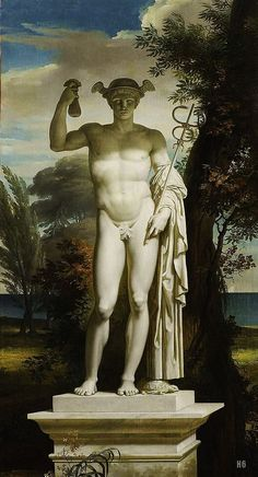 Statue of Mercury in a landscape. Charles Meynier. French. 1763-1832. oil on canvas.