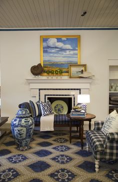 Feizy Rug- Love the room and the use of blue. Poetic Wanderlust Tamar Collection- living room