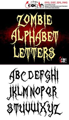 Zombie Alphabet Letters Digital Cut Files Svg Dxf Eps Png Silhouette SCAL Cricut Printable Vector Do Tattoo Lettering Styles, Graffiti Lettering Fonts, Graffiti Letters Styles, Script Tattoos, Tattoo Fonts Alphabet, Caligraphy Alphabet, Font Software, Letras Tattoo, Letter Vector