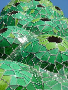 Chimney of Palau Gueli, into the famous Park Gueli , by Anton Gaudi - Barcelona, Spain