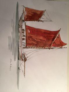 Boat, bretagne, watercolor, François Bro de comères