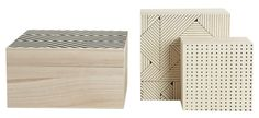 Print Box - / Set of 3 Print by House Doctor - Design furniture and decoration with Made in Design House Doctor, Wooden Storage Boxes, Wood Boxes, Geometric Box, Home Design, Interior Design, Boutique Deco, Print Box, Scandinavian Style