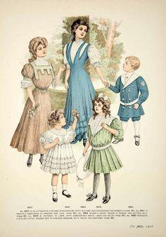 ee461465e7791 1906 Offset Lithograph Edwardian Delineator Art Nouveau Girls Fashion  Gingham 1900s Fashion, Edwardian Fashion,
