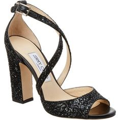 Jimmy Choo Carrie 100 Coarse Glitter Fabric Peep-Toe Sandal ($600) ❤ liked on Polyvore featuring shoes, sandals, black, high heels sandals, black high heel sandals, strappy sandals, glitter sandals and jimmy choo shoes