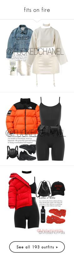 """""""fits on fire"""" by tillermami ❤ liked on Polyvore featuring outerwear, jackets, tops, coats & jackets, orange jacket, the north face, the north face jacket, La Perla, Allstate Floral and Marina J."""