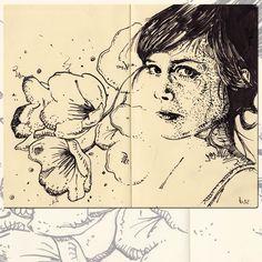 Moleskine – Amelia, 2012. Black ink on Moleskine Sketchbook A4 / Encre de chine sur carnet de croquis Moleskine A4.