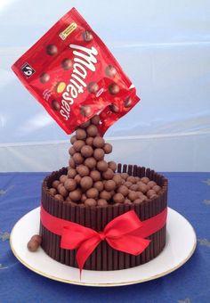 Gravity defying Malteaser cake. Ooooh. More