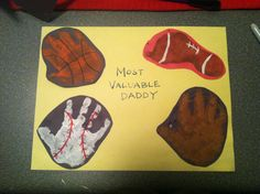Handprint sports theme craft for dads or fathers day.