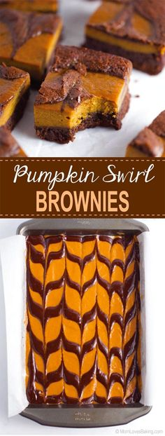 Pumpkin Chocolate Swirl Brownies via @liseode Fall Dessert Recipes, Fall Desserts, Delicious Desserts, Sweet Desserts, Drink Recipes, Captain America Birthday Cake, Chocolate Swirl, Unsweetened Chocolate, Pumpkin Dessert