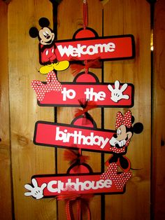 Mickey and MInnie Mouse Birthday Door sign Classic red and black MIckey