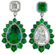 Emerald Diamond platinum Pendant Earrings | From a unique collection of vintage drop earrings at https://www.1stdibs.com/jewelry/earrings/drop-earrings/