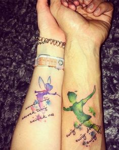 marriage tattoos, peter pan and tinkerbell, watercolour forearm tattoo tattoos marriage ▷ 1001 + ideas for matching couple tattoos to help you declare your love Heart Tatoo, Couple Tattoo Heart, Couple Tattoos Love, Disney Couple Tattoos, Tattoo Disney, Tattoos Skull, Hot Tattoos, Body Art Tattoos, Tribal Tattoos