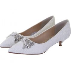 Lady+Penelope+Kitten+Heel+Shoes+-+A+romantic+low+heeled+pump+adorned+with+stunning+hand+beaded+pearl+and+crystal+detail+in+genteel+floral+lace.+ This+style+is+non-dyeable++£199.00