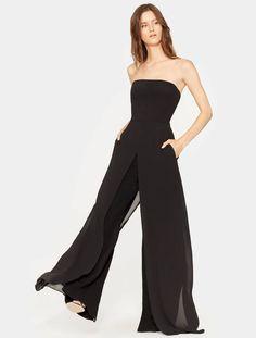 d6b1071bdb Halston Heritage Chiffon Overlay Strapless Jumpsuit - Black 0