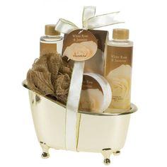 Spa Gift Set Bath White Rose Jasmine Gold Tub Romantic & Elegant Valentines Day #FreidaJoe