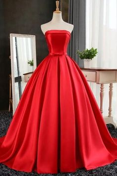 red satin ball gowns prom evening dresses 2017 strapless formal dress