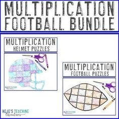 MULTIPLICATION Football Math Packet Alternative {Six Puzzle Options   Rubrics} |  3rd, 4th, 5th grade, Activities, Basic Operations, Games, Homeschool, Math, Math Centers, Mental Math