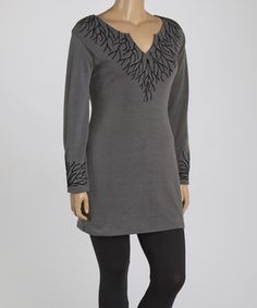 Another great find on #zulily! Gray Branch Notch Neck Tunic - Plus by Highness NYC #zulilyfinds
