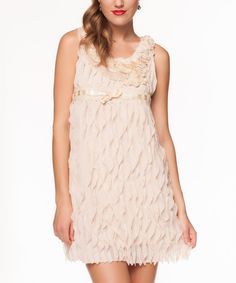 Look at this Cream Floral Ruffle Dress on #zulily today!