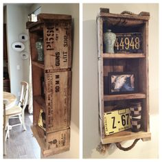 Repurposed ammo box shelf