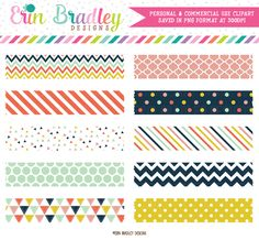 Craft Party Digital Washi Tape Clipart Graphics