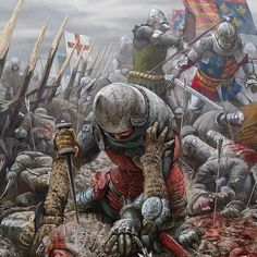 Brutal hand-to-hand struggle between English and French knights in the muddy battlefield of Agincourt, Hundred Years War- by Radu Oltean Medieval World, Medieval Knight, Medieval Armor, Medieval Fantasy, Medieval Times, Armadura Medieval, Fantasy Battle, Fantasy Art, Larp