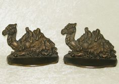 ANTIQUE BRASS BRONZE PLATED EGYPTIAN CAMEL BOOK ENDS 1928 CONNECTICUT FOUNDRY