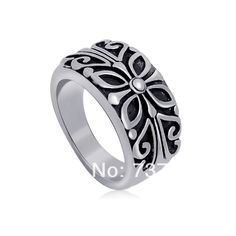 CH Butterfly pattern Titanium ring, New men and women index finger ring,316L stainless steel ring + Free shipping MOQ $10