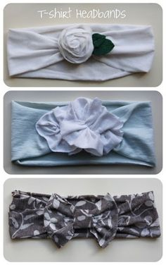 t-shirt headbands.Have lots of old T-shirts in that donate pile from spring cleaning? This is a great way to use those old shirts! Just cut a strip to the desired width, create the flower/bow, and then sew/hot glue together. Cute Crafts, Crafts To Do, Arts And Crafts, Diy Crafts, Do It Yourself Mode, Do It Yourself Fashion, Do It Yourself Inspiration, Diy Inspiration, Couture Bb