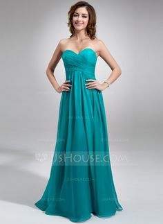 Corte imperial Escote corazón Vestido Chifón Dama de honor con Volantes (007016755) - JJsHouse