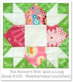 Farmer's Wife Quilt-a-Long - Block 100 - Weathervane by Monica Solorio-Snow/Happy Zombie thehappyzombie.com