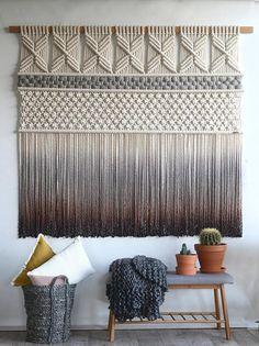 "Fiber Art – Elegantly Woven Wall Hanging – Dip-dyed or natural – ""MARIANA"" – macrame"