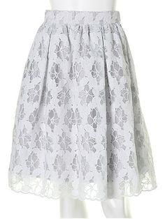 オーガンジー刺繍スカート
