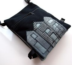 Handmade shoulder bag with applique #bag #purse #messenger #felt #applique #novelty #cotton #pouch #house #home #black #grey #art #architecture $50.00