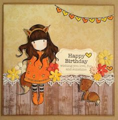 Card designed by Yolande using a Gorjuss stamp