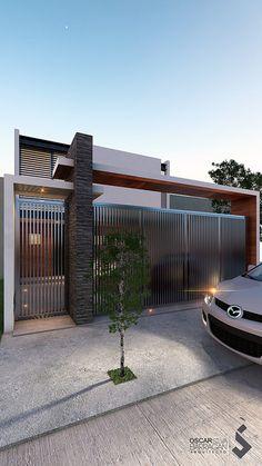 Home Gate Design, House Fence Design, Fence Gate Design, Main Gate Design, Door Design, Exterior Design, Gate House, House Entrance, Facade House