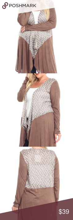 PLUS SIZE Zigzag Open Duster NWT.  Gorgeous color and design cardigan.  Made in USA.  Solid color:  53% polyester, 43% rayon, 4% spandex.  Contrast fabric :  97% rayon, 3% spandex. Bellino Sweaters Cardigans