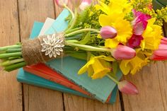 lovely way to give flowers to a friend or hostess