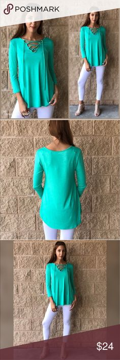 CLEARANCE! 🌸Ava Lace Up Top The mint Ava lace up top featuring 3/4 length sleeves. Made of rayon and spandex. Super soft, flowy and drapes nicely. Leggings sold separately. Great value for the quality.                                                                          Small  Bust 40 Length 28  Medium  Bust 42 Length 30  Large  Bust 44 Length 33 Tops Tees - Long Sleeve