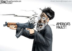 Iran, a state known for sponsoring terrorism, was itself attacked by terrorists, but blames the United States. Political cartoon by A.F. Branco ©2017.