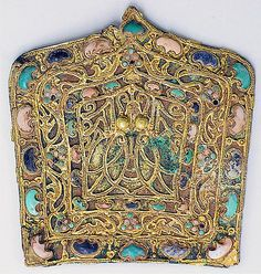 Ornamental Plaque.  Eastern Jin dynasty (317–420) Date: 4th–5th century, China. Gilded bronze with gold, lapis lazuli, turquoise, and white coral