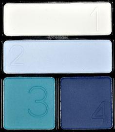 Quarteto Laguna Matte da Avon combina sombra branca, sombra azul clara, sombra turquesa e sombra azul royal.