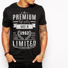 Limited Vintage Born 1952 Birthday Gift Ideas Premium T-Shirt, Black Tee  T-Shirt Image design on the shirts is purely the result of our creations, we try to create an image that is considered unique design and attractive to others. We also acc...