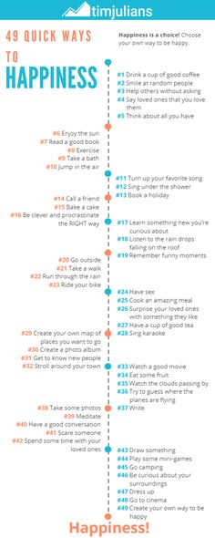 Your infographic to be happy right now with 49(!) inspiring ideas and a call to create your own! What do you want more?? #hapiness #happy #rightnow #ideas #timjulians.com