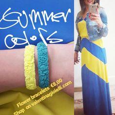 We 💛💙 love summer #flower #bracelet #fullspot #silicon #rubber #shoponstore #valentinagioielli #welovecolors #summeriscoming #2017 #yellow #blue #sun #sea #valentinagioielli #officialdealer